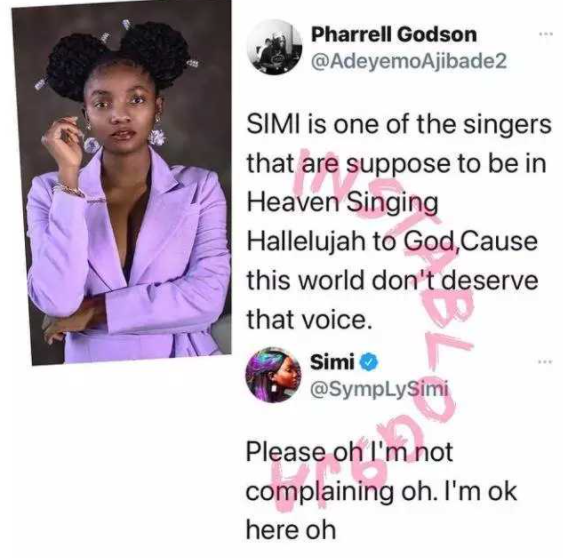 """Simi is meant to be in Heaven singing Hallelujah to God, because the world doesn't deserve that voice."""" – Fan says, she replies"""